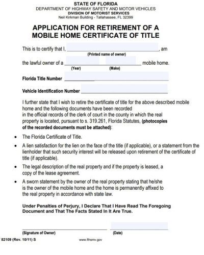application for retirement of mobile home certificate of title in FLorida