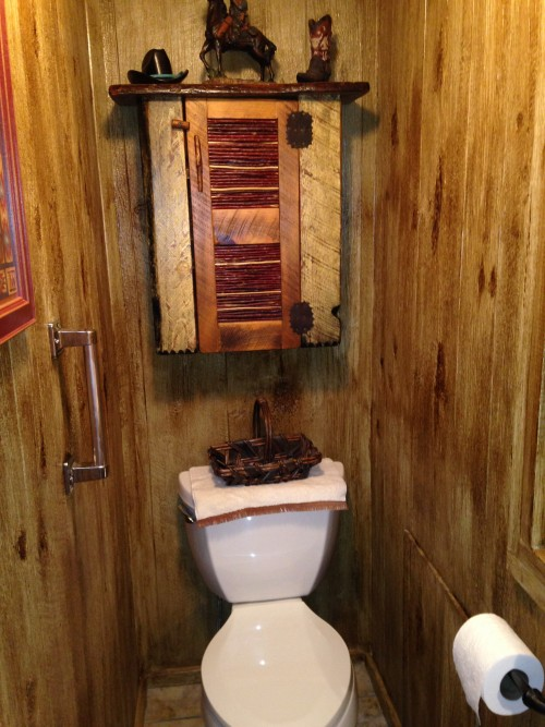 bathroom after wood stain was applied
