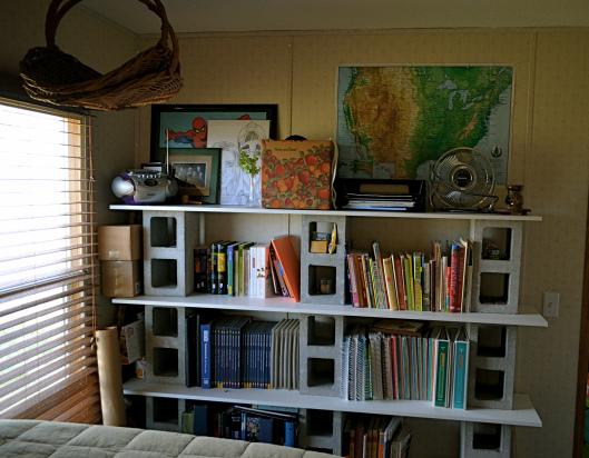 beautiful eclectic single wide decor - bedroom - DIY cinder block shelves