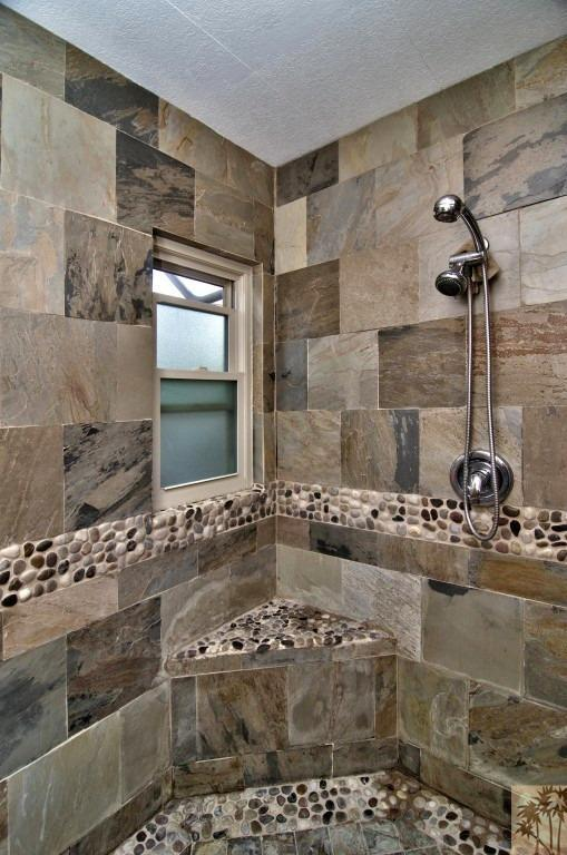 beautiful manufactured home tour - master bathroom shower tile