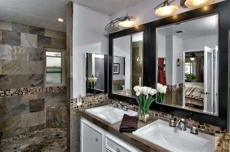 beautiful manufactured home tour - master bathroom suite