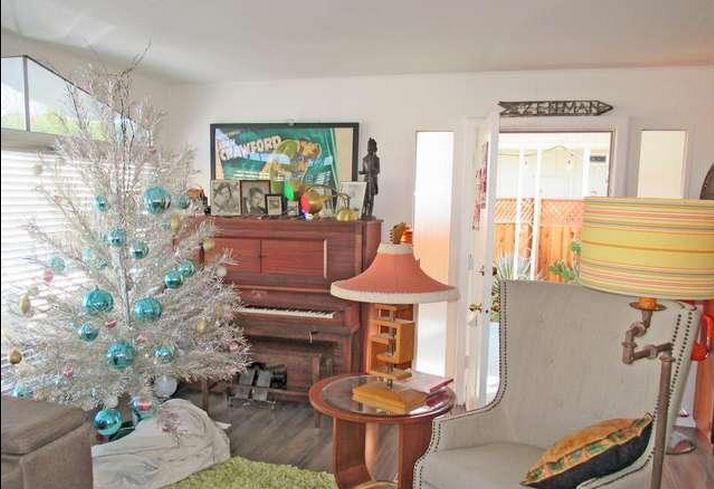 mid-century modern-beautiful mid-century living room in updated mobile home