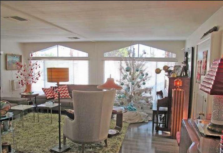 mid-century modern-beautiful mid-century mobile home living room