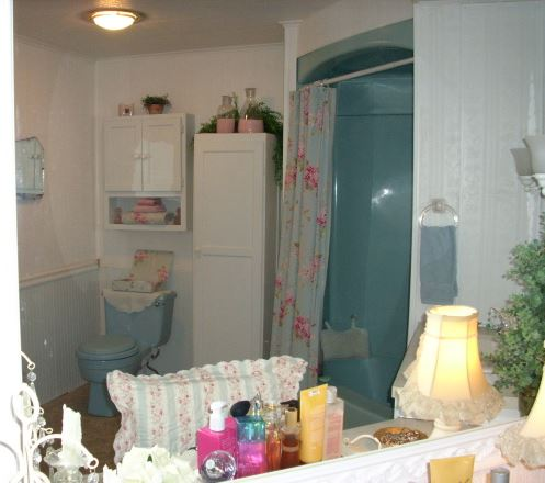beautiful powder room in a double wide mobile home