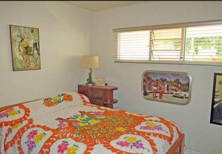 mid-century modern-bedroom 3 in updated mid-century mobile home in Palm Springs