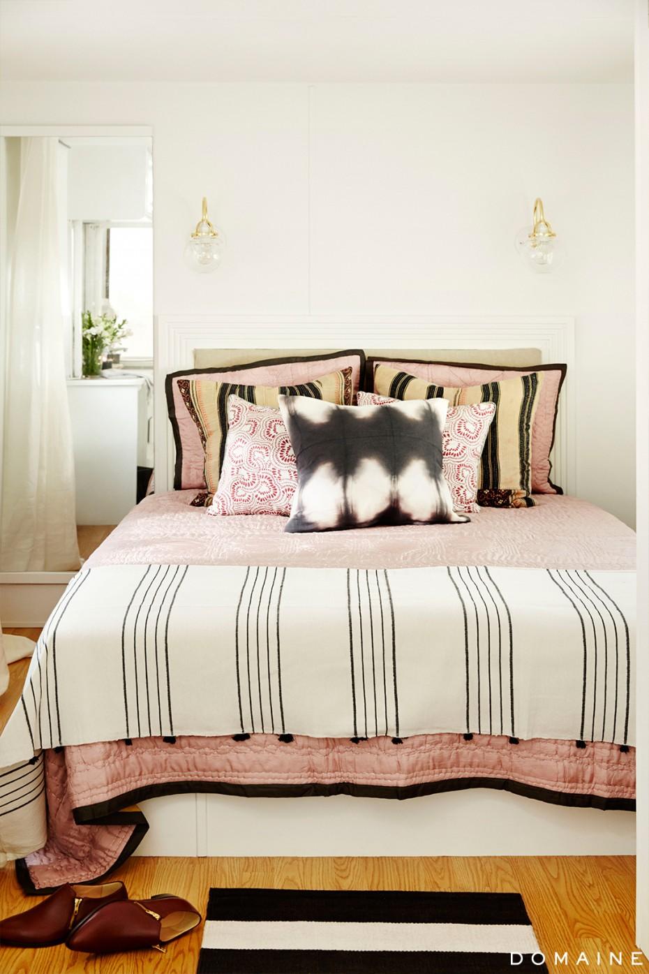Bedroom of celebrity camper makeover