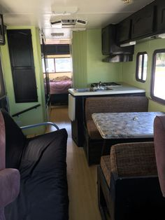 motorhome RV makeover - dinette area before