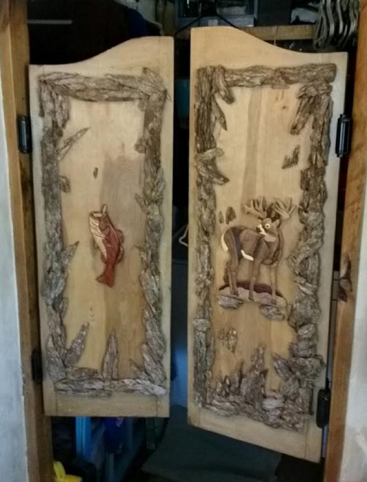 Saloon doors in DIY rustic cabin makeover