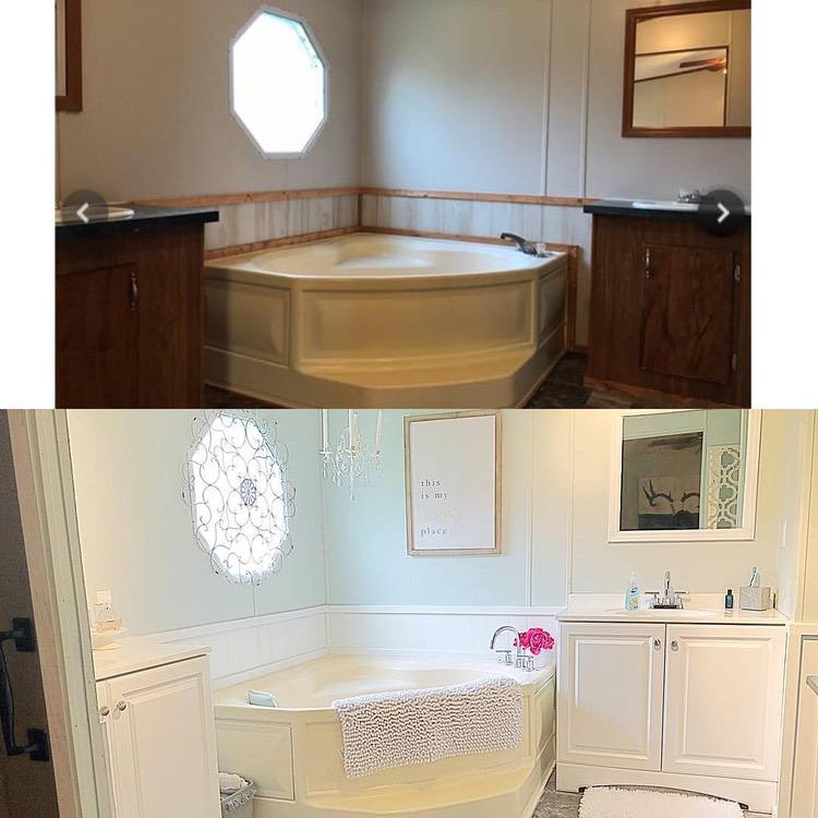before and after images of a complete mobile home bathroom renovation
