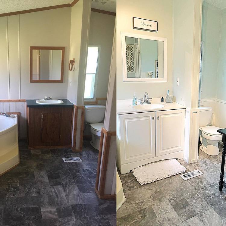 before and after images of a mobile home bathroom renovation
