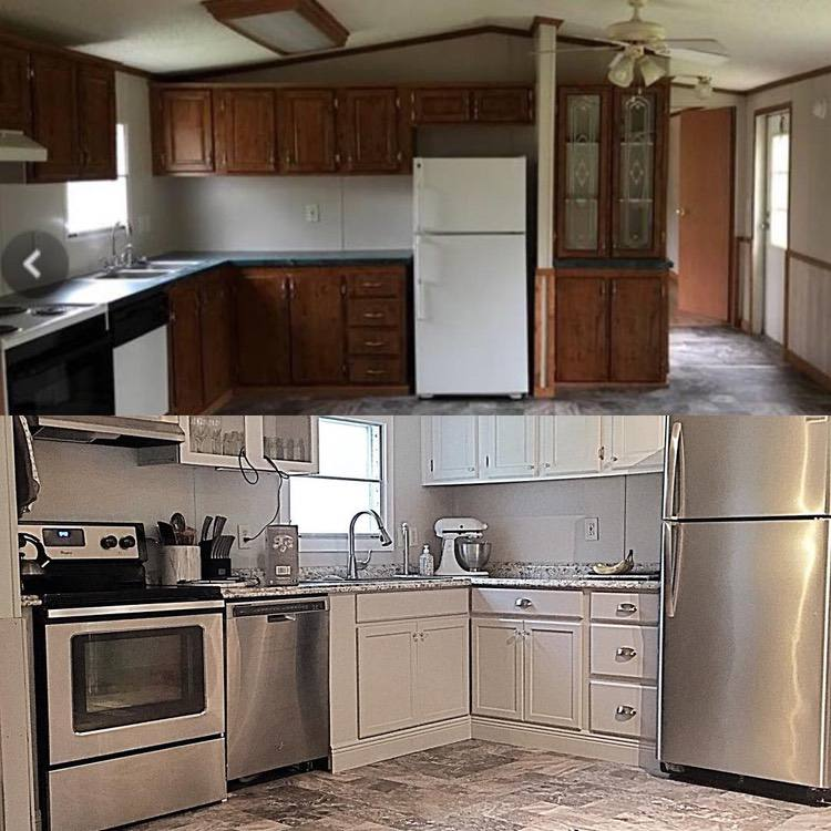 before and after images of mobile home kitchen renovation