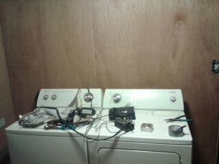 before laundry room remodel in mobile home
