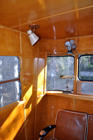 birch paneling in 1955 Spartan after renovation