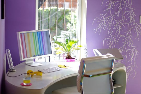 19 Great Home Office Ideas for Small Mobile Homes - a curved corner desk creates purple perfection