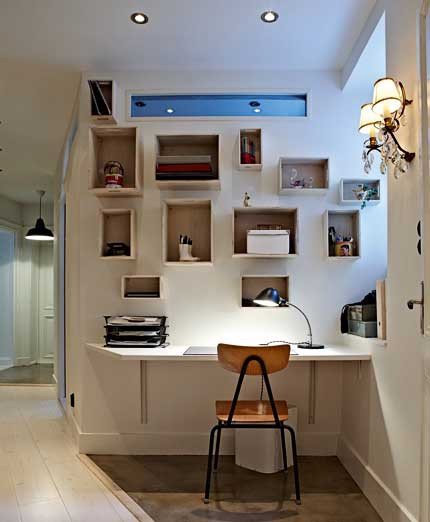 19 Great Home Office Ideas for Small Mobile Homes - small shelfs