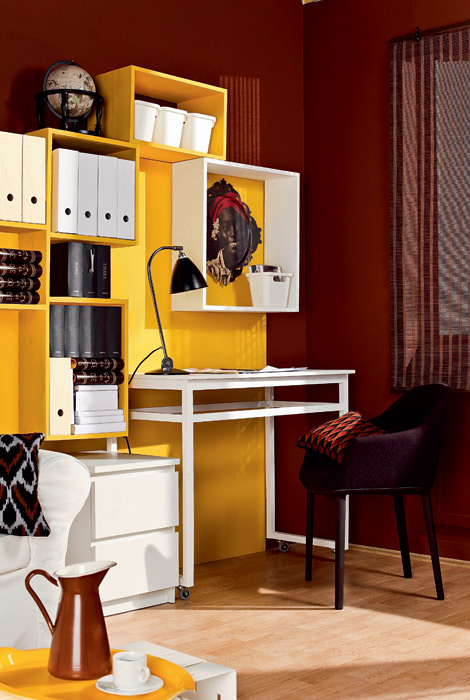 Great Home office ideas for small mobile homes  - red and orange shelf office