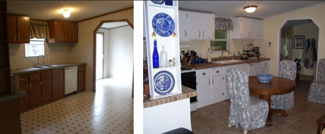 double wide manufactured home makeover - kitchen before and after makeover