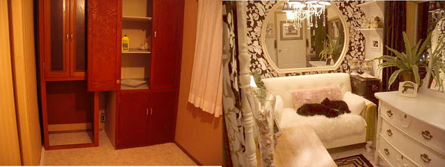 amazing mobile home-before and after foyer