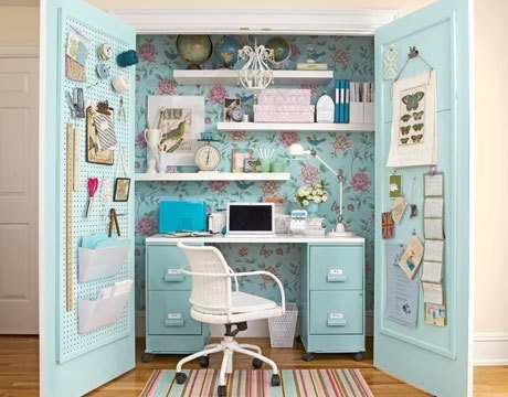 19 great home office ideas for small mobile homes - small closet turned into a home office