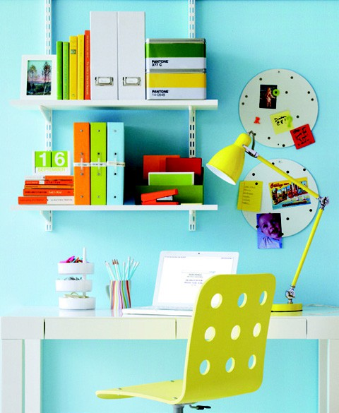 19 Great Home Office Ideas for Small Mobile Homes - bright and bold