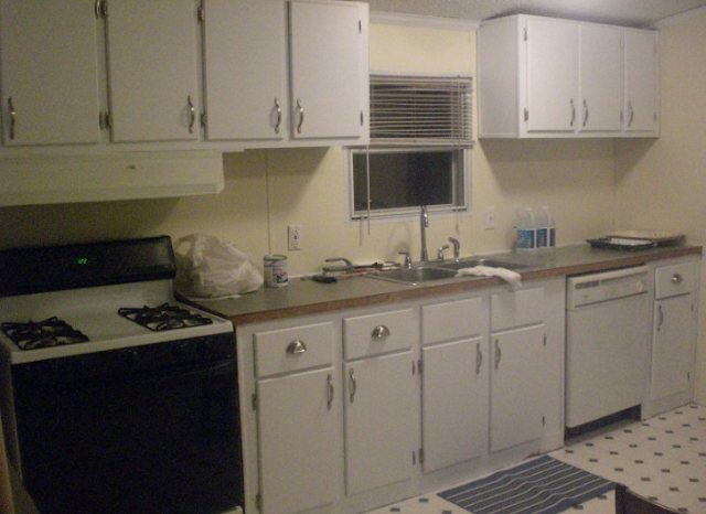 double wide manufactured home makeover - kitchen after paint / makeover