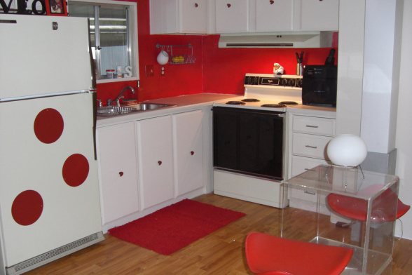 single wide makeover-red kitchen