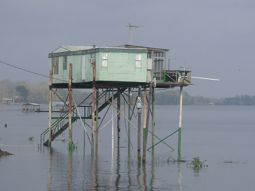Mobile Home Ingenuity-trailer on stilts in water
