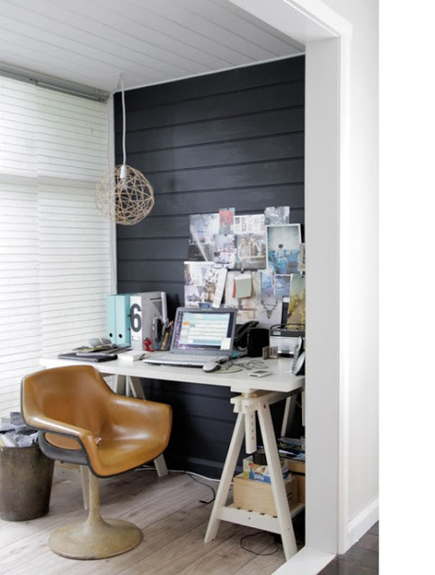 19 Great Home Office Ideas for Small Mobile Homes - dark wall and minimal design