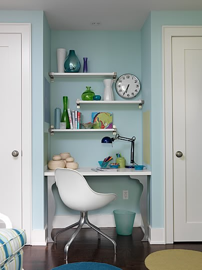 19 Great Home Office Ideas for Small Mobile Homes -  creative shelving