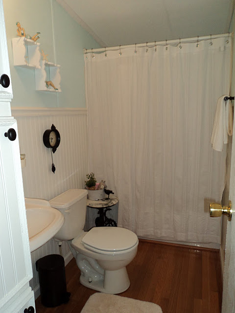 Farmhouse style double wide makeover - guest bathroom after