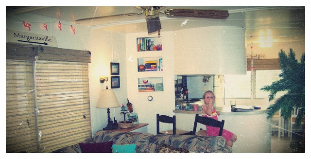 Interior of the pink flamingo, a 1961 goldenrod mobile home