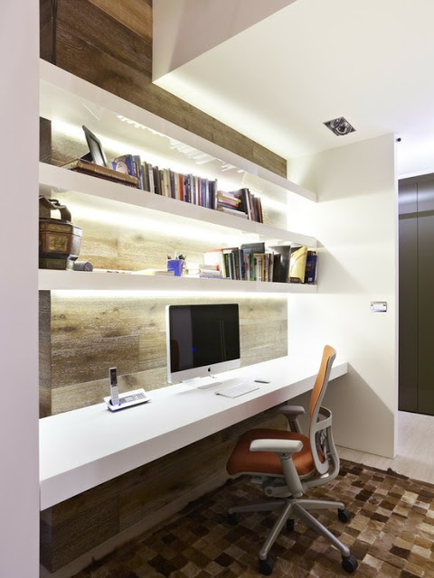 19 Great Home Office Ideas for Small Mobile Homes -  3 shelves