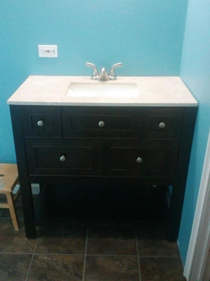 the sinks were replaced with this attractive and modern furniture piece with a great top the flooring adds a great foundation for any color but the blue of - Mobile Home Bathroom Remodeling