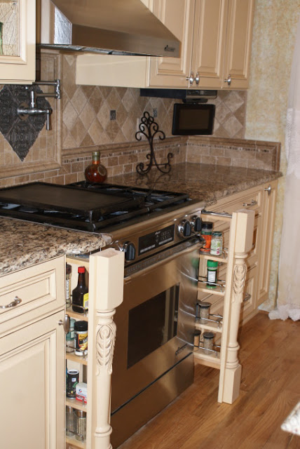French Country Gourmet Kitchen in a Manufactured Home - spice racks