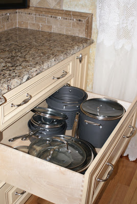 French Country Gourmet Kitchen in a Manufactured Home - pullout storage
