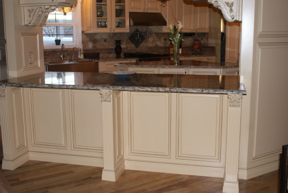 French Country Gourmet Kitchen in a Manufactured Home - panels and molding