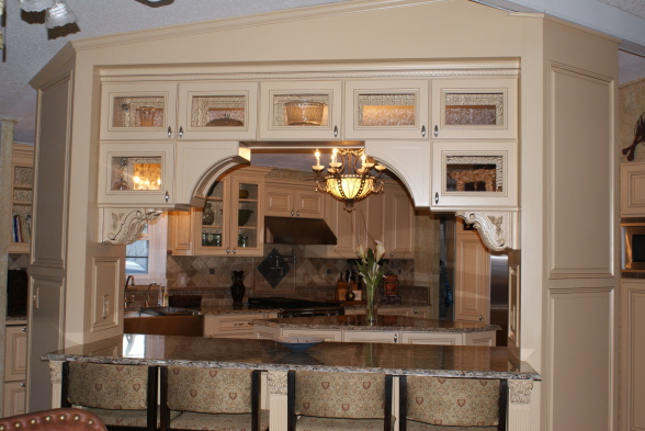 French Country Gourmet Kitchen in a Manufactured Home - breakfast bar