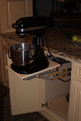 French Country Gourmet Kitchen in a Manufactured Home - pullout tracks for small appliances