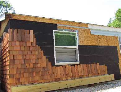cedar siding on a mobile home