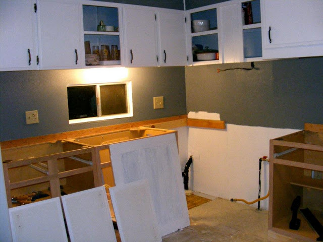 Single wide kitchen remodel-painting cabinets