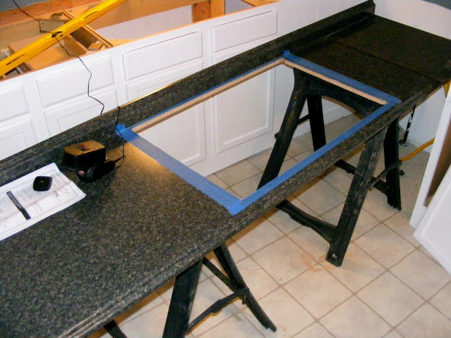 Single wide kitchen remodel-cutting countertops