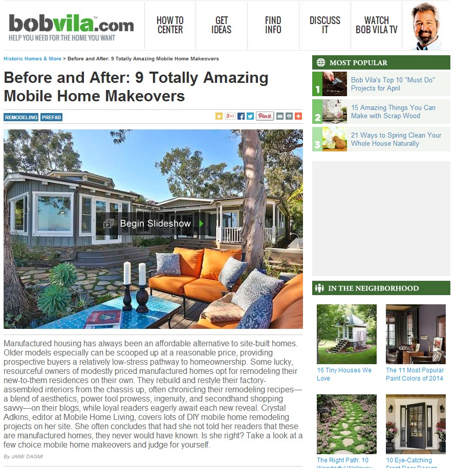 Before And After Home Makeovers: Bobvilla.com Mentions Mobile Home Living