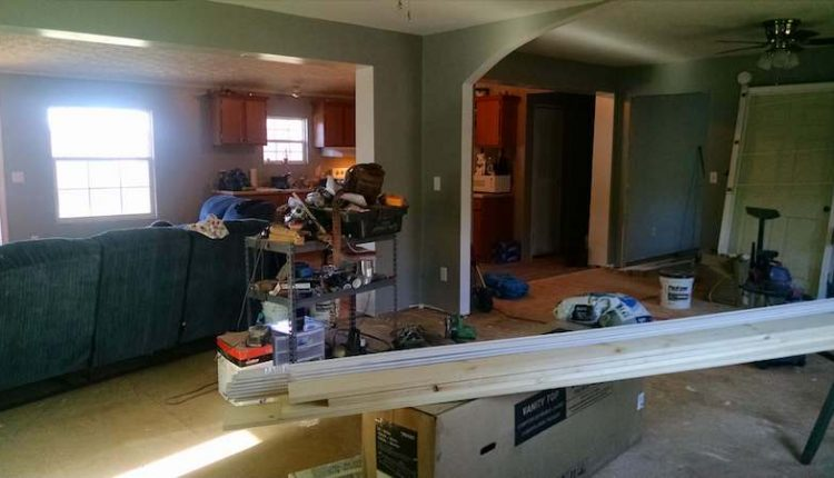 Building a room addition - interior joining of the manufactured home addition