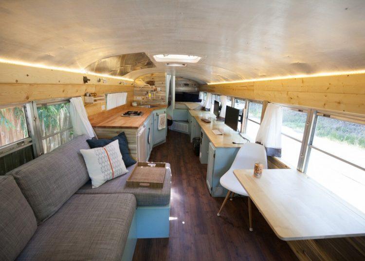 bus conversions-bluebird interior