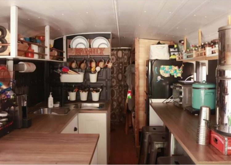 bus conversions-family of 8 kitchen