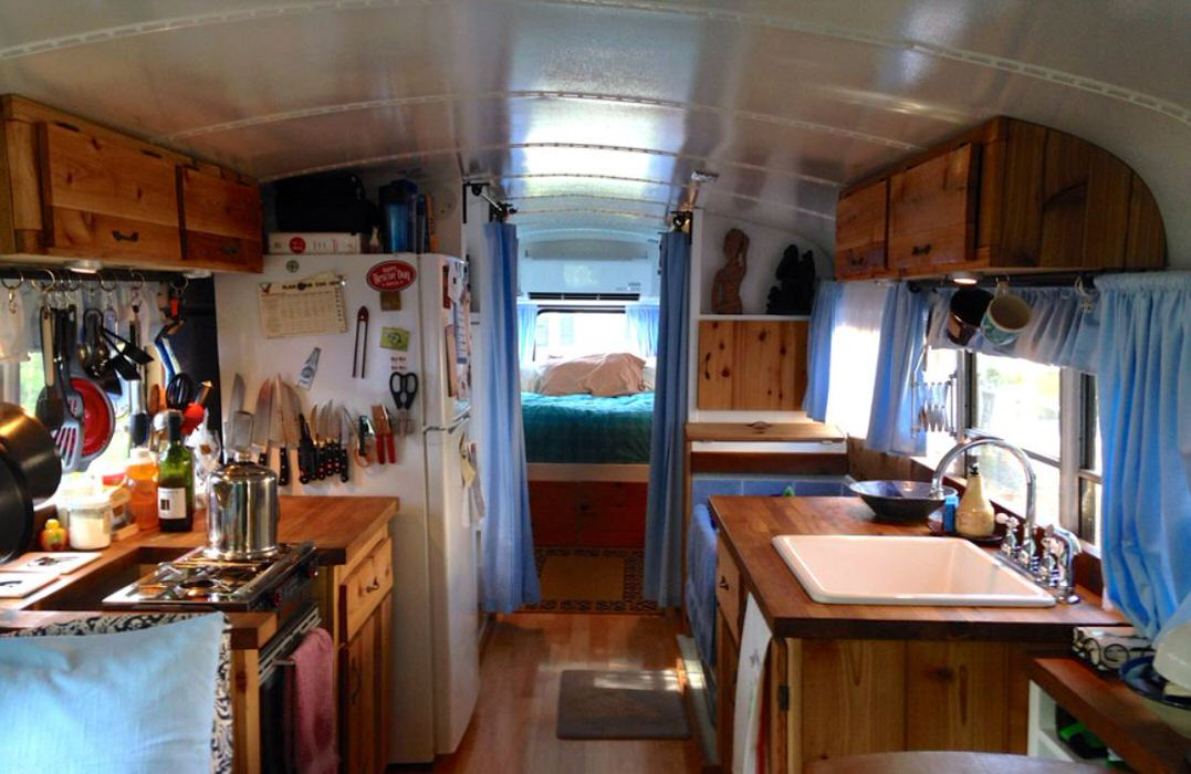 bus conversions-tiny home interior