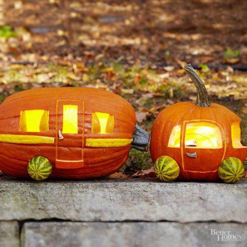 car and camper pumpkin project - DIY Fall decorating ideas