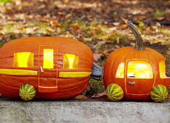 car and camper pumpkin project - DIY Fall decorating ideas