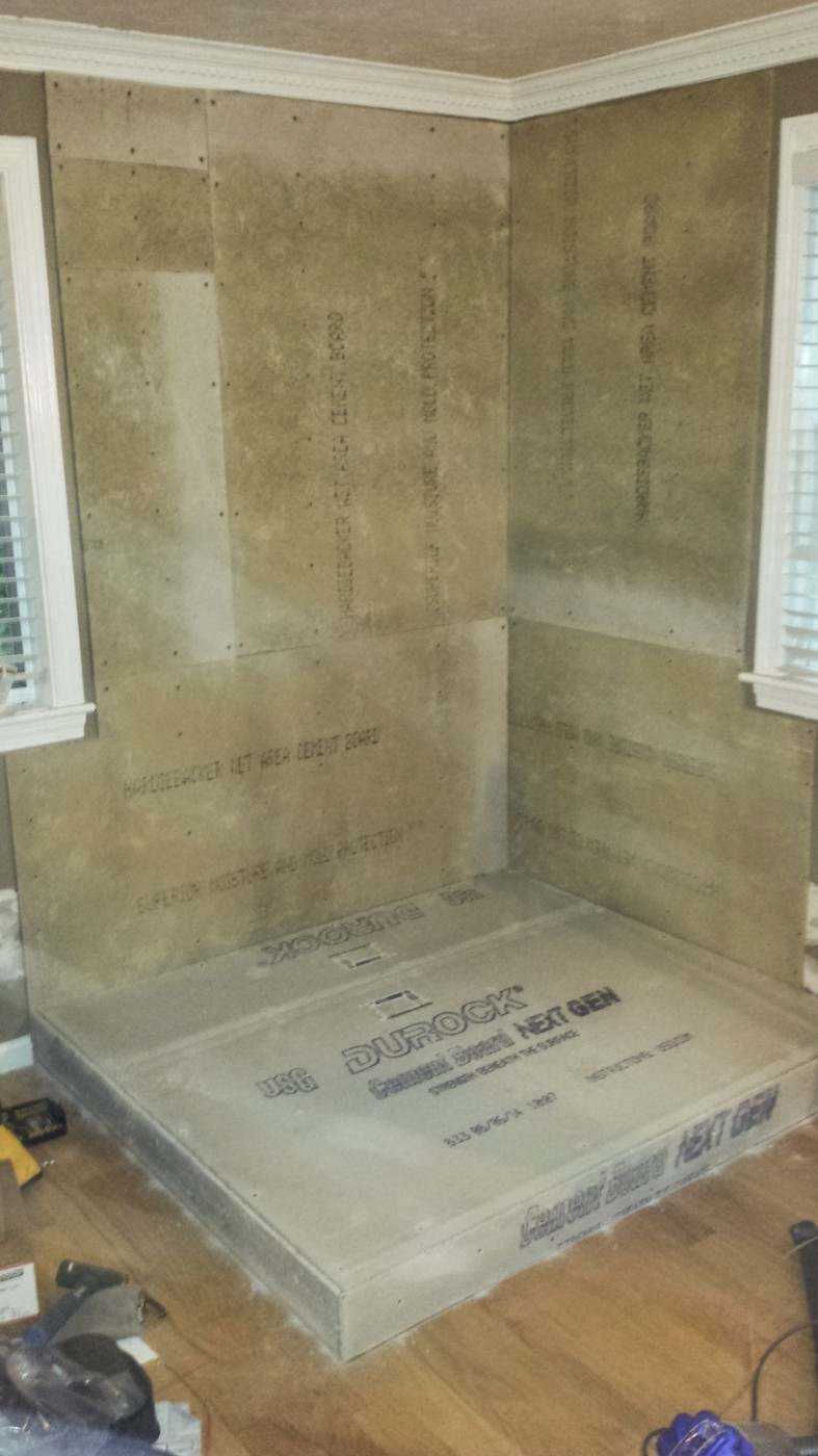 cement board added for wood stove installation