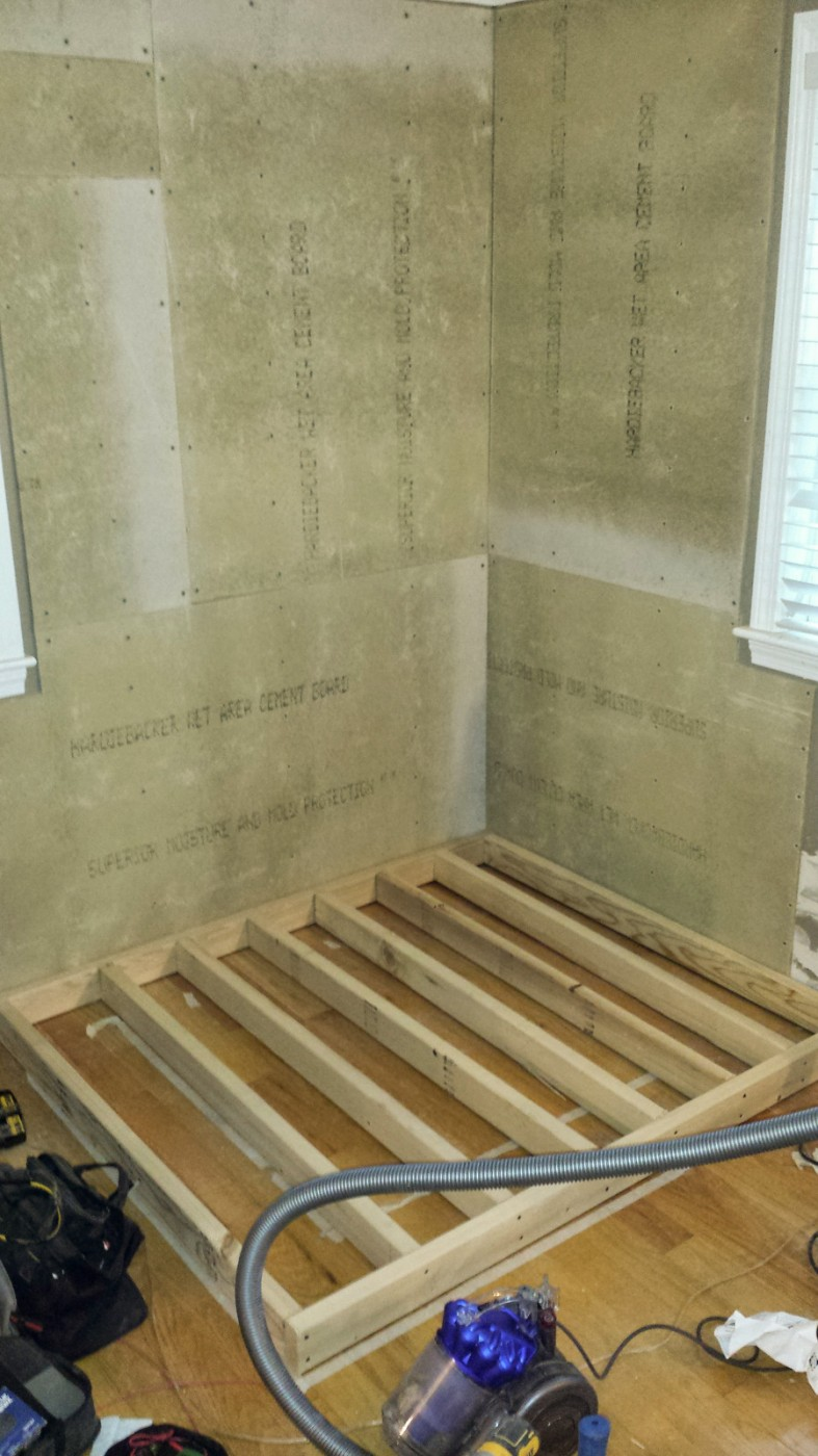 cement panels added to walls and hearth for stove installation